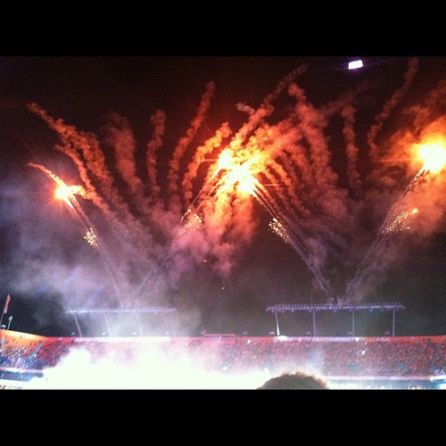 Half time at #orangebowl #fireworks